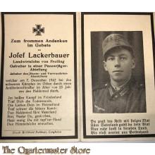 In Memoriam Karte/Death notice Gefreiter Panzer jager abteilung Osten