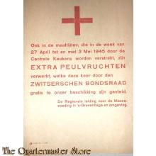 Flyer/poster extra peulvruchten in de maaltijden 27 april -3 mei 1945 Den Haag