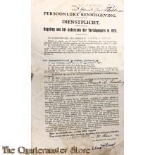 Persoonlijke kennisgeving Dienstplicht Laren (Gld) 1923