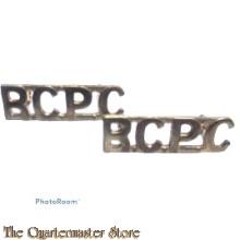 Shoulder titles Royal Canadian Postal Corps R.C.P.C. (brass)  1961-1980