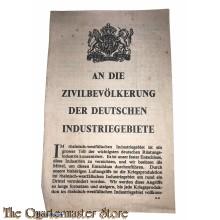 Flugblatt /  Leaflet , G.41, An die zivilbevolkerung der Deutschen Industriegebiete (Message to Civilians)