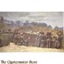 Prent briefkaart mobilisatie 1939 Grenadiers in gedekte stelling met mitraileur