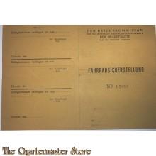 Fahrradsicherstellung no 03886 Reichskommissar, der beauftragte fur die Provinz Utrecht 7 april 1945