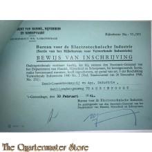 2x Bewijs van Inschrijving 1941 electrotechnisch en metaal verwerkend Amersfoort