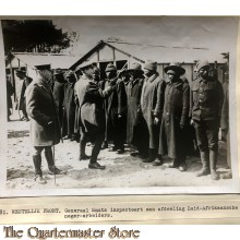 Press photo , WW1 Western front,  Gerneral Smuts inspects South African negro workers