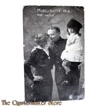 Prent briefkaart mobilisatie 1914 Met verlof