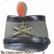 Sjako (Model 1912) van geschoren grijsgroene wol voor officieren der veldartillerie, Nederlands (ca. 1912-1918)