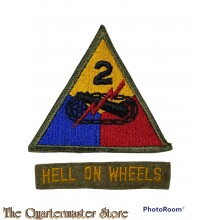 Mouwembleem 2e Armored Divisie (sleeve badge 2nd Armored Division) with BM tab