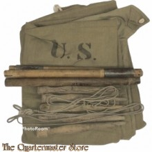 US Army Kaki 1943 Pup Tent Shelter Half with 5 pegs and pole