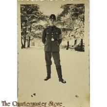 Photo enlisted man RAD in snow wearing brassard Deutsche Wehrmacht