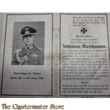 In Memoriam Karte/Death notice 8-09-1941 Oberleutnant