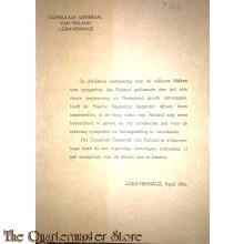 Dankzegging Consulaat Generaal van Finland april 1941 Den Haag