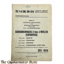 Bevoorradings catalogus TD 7-8 SNL GN-234 Aanhangwagen 2-ton, 4 wielen (Enthoven) 1959