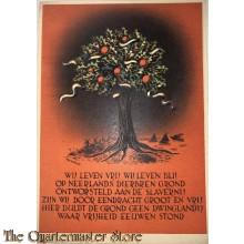 Briefkaart Wij leven vrij wij leven blij op Neerlands dierbaren grond, ontworsteld aan de slavernij, zijn wij door eendracht groot en vrij!