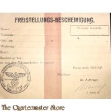 Freistellungs-bescheinigung Schanzarbeiten Einsatzstab der NSDAP