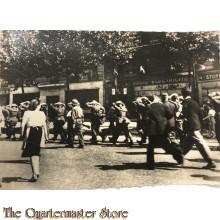Postcard , US troops guarding German Prisoners