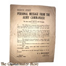 Pamphlet , Eighth Army. Personal message from the Army Commander. To be read out to all troops.