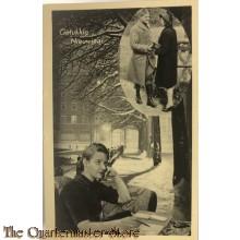 Prent briefkaart mobilisatie 1939 Gelukkig Nieuwjaar, schrijvende vrouw en zij met soldaat