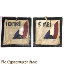 Set van 2 keramische tegels 10 mei 1940 en 5 mei 1945