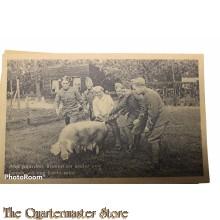 Prent briefkaart Mobilisatie 1940 Met paarden koeien en ander vee