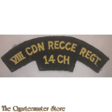 Shoulder flash 8th Reconnaissance Regiment (14th Canadian Hussars), commonly abbreviated to 8 Recce, VIII Recce or (within the British Army) 8 Canadian  2nd Canadian Infantry Division
