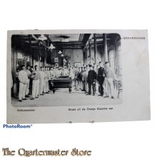 Prent briefkaart  1904 Soldatencantine Groet uit de Oranje Kazerne van .... 's Gravenhage
