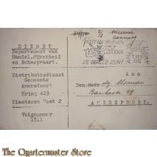 Briefkaart Dept Handel, Nijverheid en scheepvaart Amersfoort Extra bonnen 1941