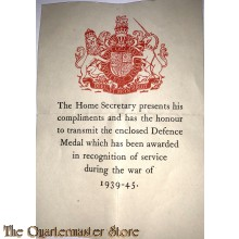 Bijlage Defence medaille Brits WW2 (Document coming with Defence medal)