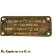 Type plaat 40mm automatic AA gun L70