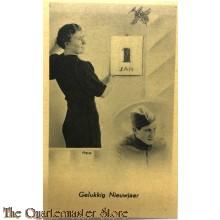 Prent briefkaart  mobilisatie 1940 Gelukkig Nieuwjaar 1 Jan vrouw groot soldaat klein