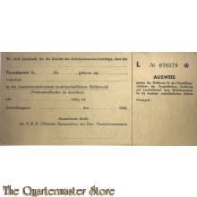 Ausweiss Arbeits einsatz 1943