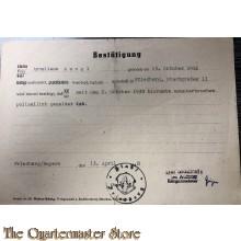 Bestatigung polizeilich gemeldet 1939-1948