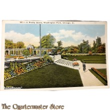 Postcard A pretty scene , Washington park Illinois 1940