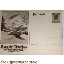 Postkarte Olympische Winter Spiele 1936 Garmisch Partenkirchen 6+4  (Postcard Olympic Wintergames 1936 Garmisch Partenkirchen)