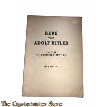 Brochure Rede van Adolf Hitler, Duitse Rijksdag 6 mei 1941