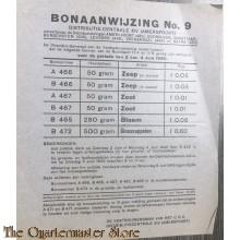 Bonaanwijzing no 9 Distributie-centrale XIV (Amersfoort)  2 t/m 4 juni 1945