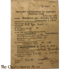 Travel permission 5-6-45 Military Government of Germany