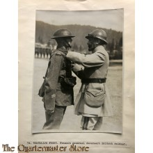 Press photo , WW1 Western front, French General decorating British soldier