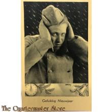 Prent briefkaart 1940 Gelukkig Nieuwjaar Soldaat handen aan de oren