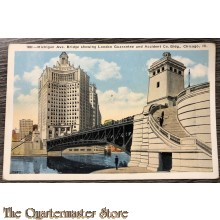 Postcard 1940 no 188 Michigan Ave. Bridge showing London Guarantee and Accident Co. Bldg Chicago Ill
