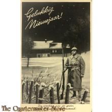 Prent briefkaart mobilisatie 1939 Gelukkig Nieuwjaar, De wachter aan de grens