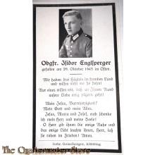 In Memoriam Karte/Death notice Obgfr Osten 1943
