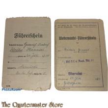 Ziviel and Wehrmacht Fuhrerschein 3./Krf.Ers.u.Ausb.Abt. 11 fur Verbrennungsmaschine klasse 2
