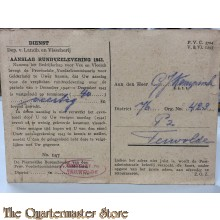 Briefkaart Dep. van Landb. en Visscherij, aanslag rundvee levering 1943