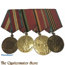 Russia - Soviet Four Place Medal Bar 1945-1975 , 1918-1968 , 1918-1978 , 1918-1988