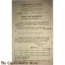 Formulier inschrijving Rijksbureau voor hout mei 1944 Amersfoort
