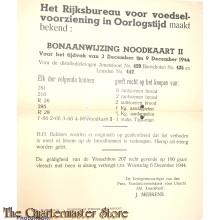Bonaanwijzing Noodkaart II Distributiekring Amersfoort) 429 3 t/m 9 dec 1944