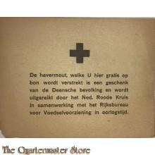 Bijlage Havermout  Nederlandsch Roode Kruis Deense bevolking 1945