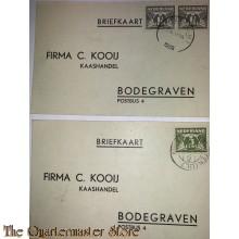 2x briefkaart C Kooij  Kaashandel Bodegraven 1939