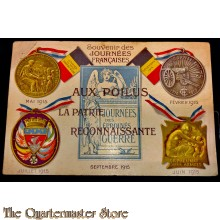 Postcard WW1 1915 depicting the four Journee medals.